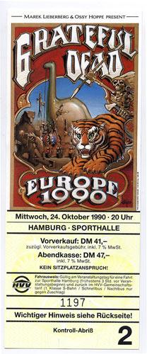 Rick Griffin Grateful Dead Europe 1990 Hamburg Ticket