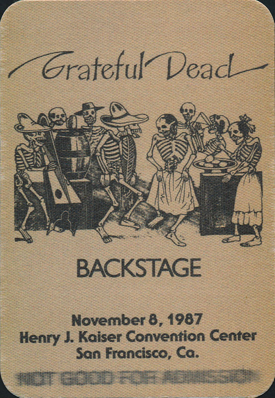 Grateful Dead 11/8/1987 Oakland Error Backstage Pass