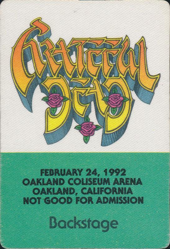 Rick Griffin Grateful Dead 2/24/1992 Oakland Backstage Pass