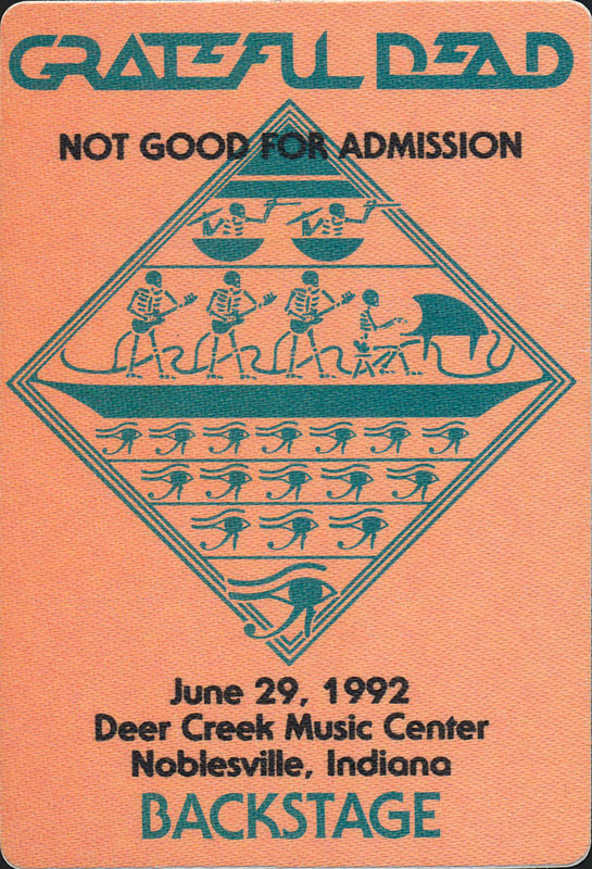 Stanley Mouse Grateful Dead 6/29/1992 Indianapolis Backstage Pass