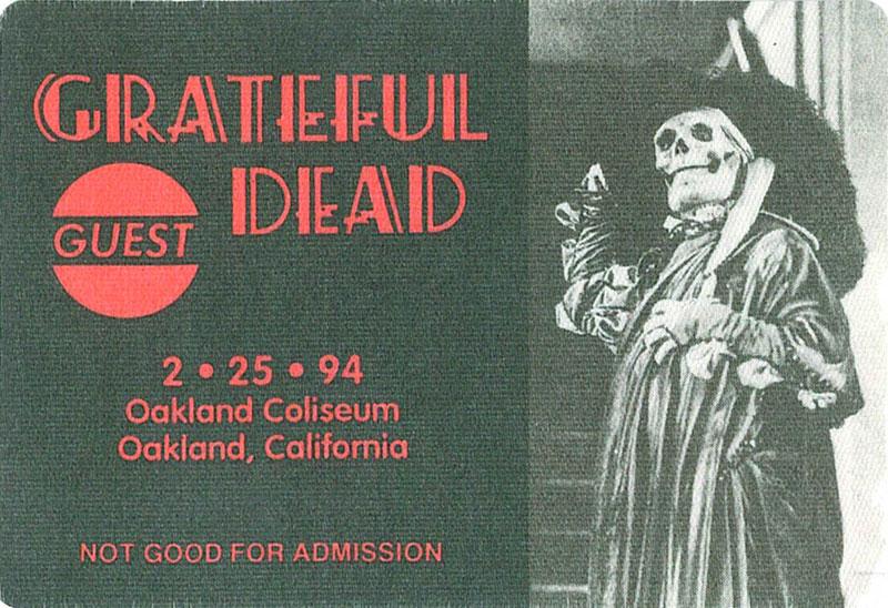 Grateful Dead 2/25/1994 Oakland Backstage Pass