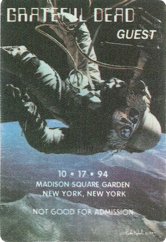 Grateful Dead Madison Square Garden New York City Ny Backstage Pass