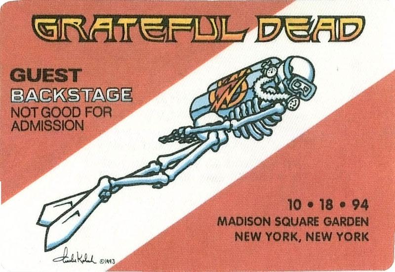 Grateful Dead Rare 10 18 1994 Madison Square Garden New York Backstage Pass Ebay