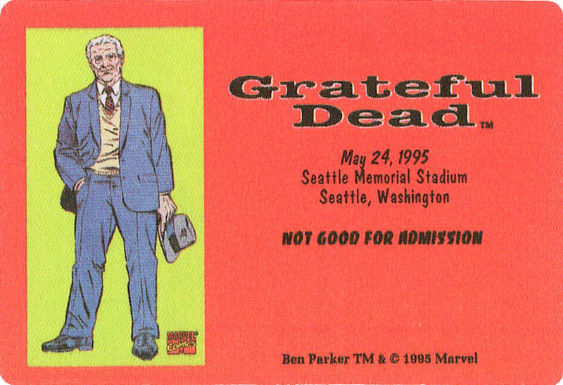 Grateful Dead 5/24/1995 Ben Parker Marvel Backstage Pass