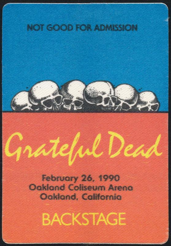 Rick Griffin Grateful Dead 2/26/1990 Oakland Backstage Pass