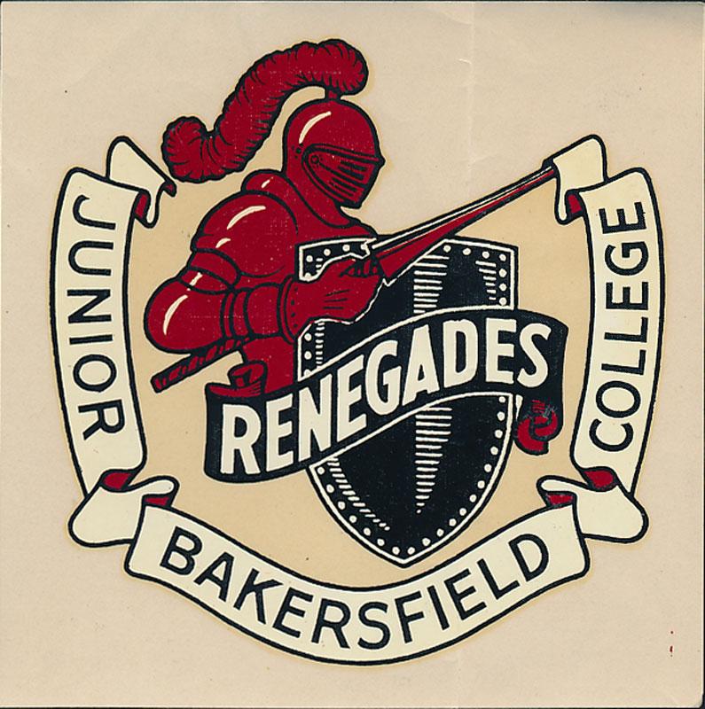 Bakersfield junior college rare original vtg 1940s renegades decal sticker
