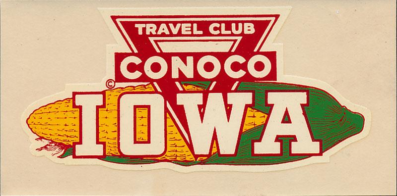 Conoco Travel Club Iowa Decal