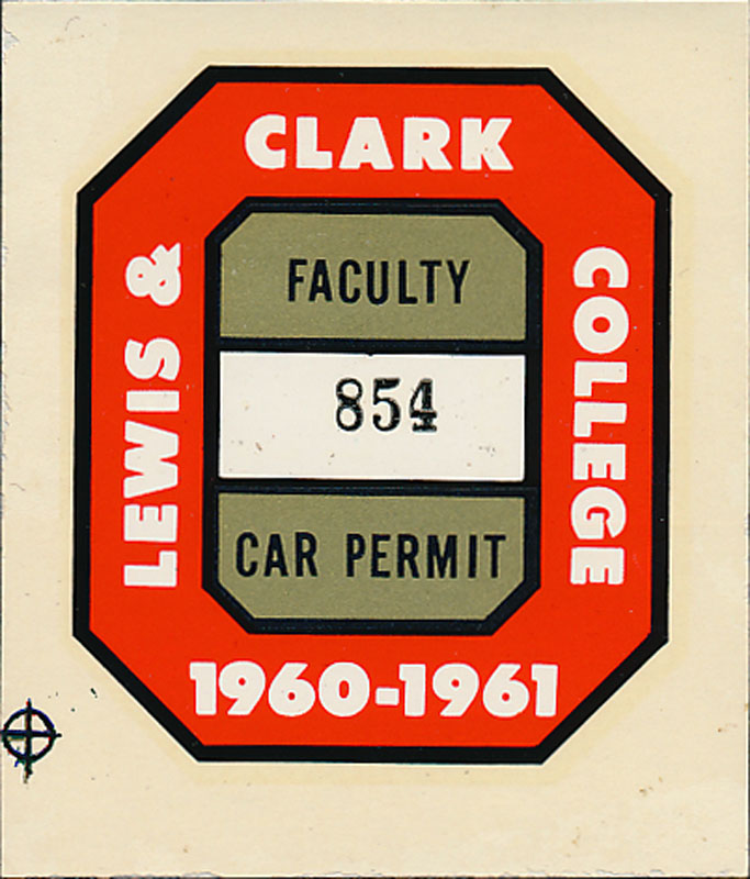 Lewis and Clark College 1960-1961 Faculty Car Permit Decal