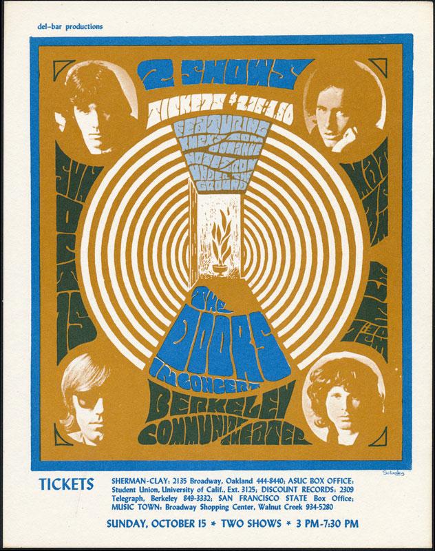 Rare October 1967 Doors Berkeley Handbill