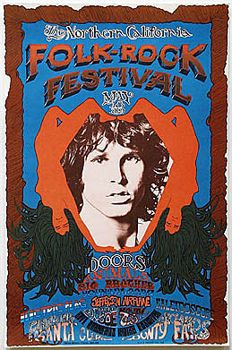 1968 Northern California Folk-Rock  Doors Poster