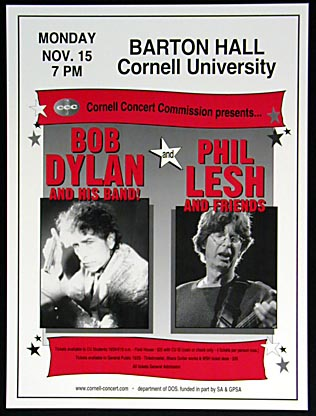 Scarce Bob Dylan & Phil Lesh Cornell Poster