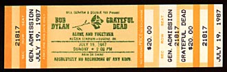 Bob Dylan and Grateful Dead Ticket