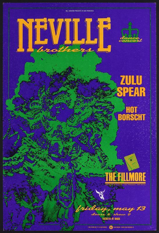 Neville Bros 1988 Fillmore F17 Poster