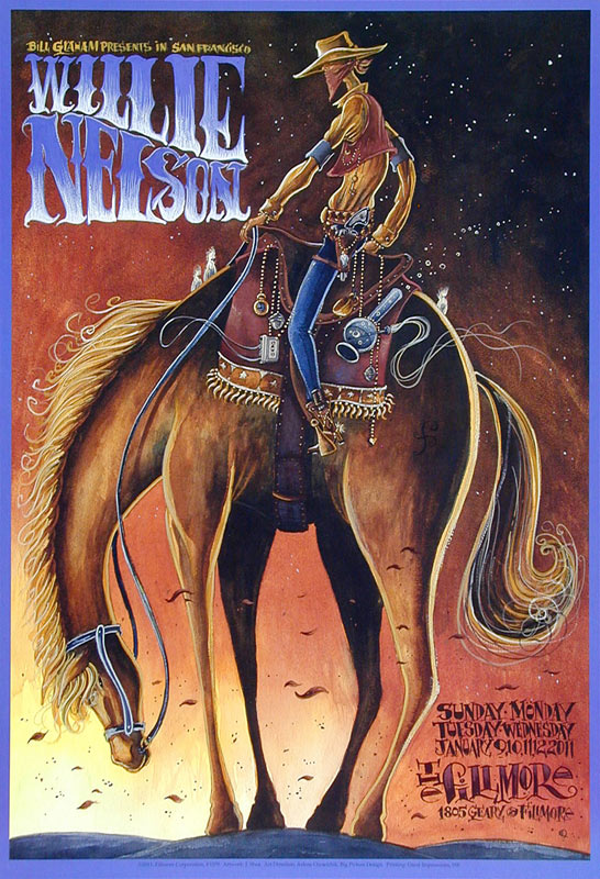 Willie Nelson New Fillmore Poster F1079