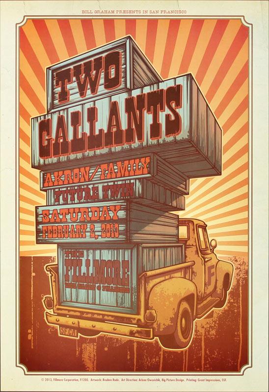 Two Gallants 2013 Fillmore F1200 Poster