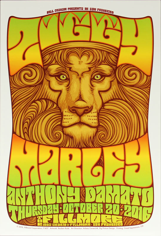 Ziggy Marley New Fillmore Poster F1437