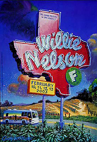 Willie Nelson New Fillmore F554 Poster