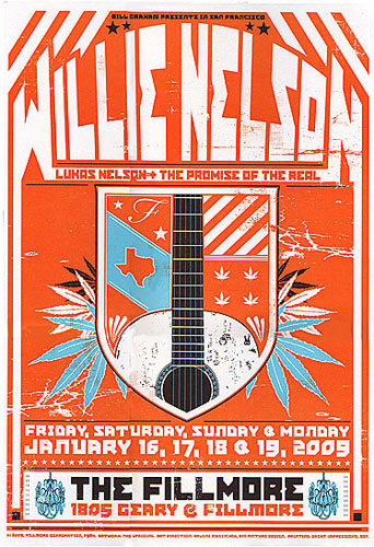 Willie Nelson New Fillmore Poster F984o