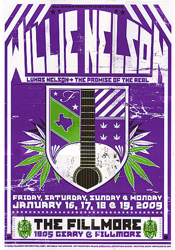 Willie Nelson New Fillmore Poster F984p