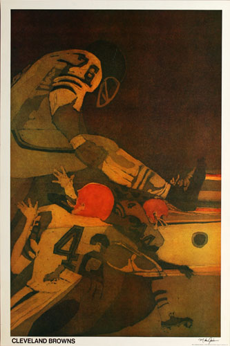 Mike Gains Cleveland Browns 1968 NFL Football Poster