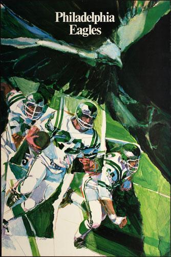 M Bartell Philadelphia Eagles 1968 NFL Football Poster