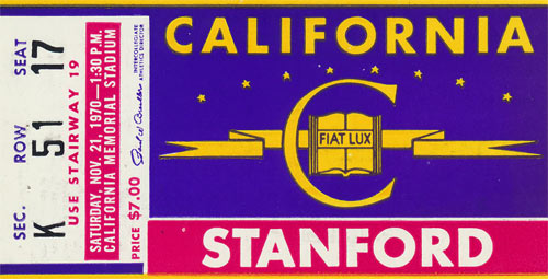 1970 Cal vs Stanford Big Game Football Ticket