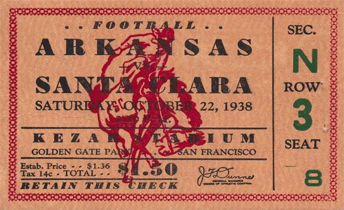 1938 Arkansas vs Santa Clara Football Ticket