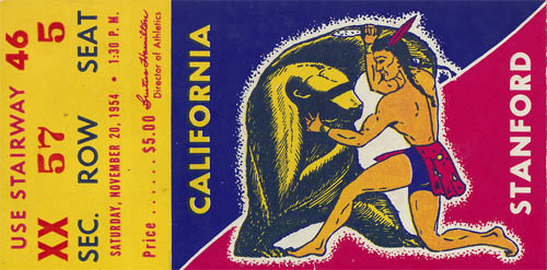 1954 Cal vs Stanford Big Game Football Ticket