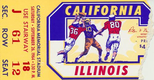 1964 Cal vs Illinois Football Ticket