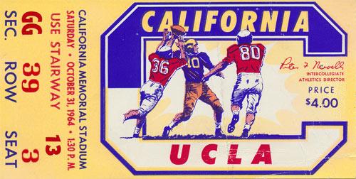 1964 Cal vs UCLA Football Ticket