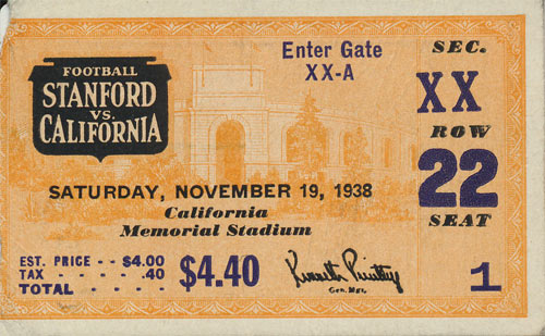 1938 Stanford vs. Cal Big Game Football Ticket