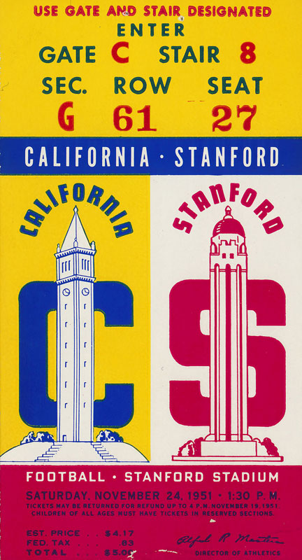 1951 Cal vs Stanford Big Game Football Ticket