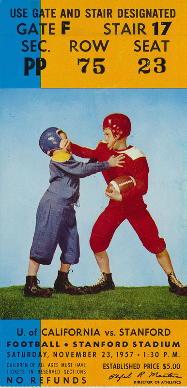 1957 Cal vs Stanford Big Game Football Ticket