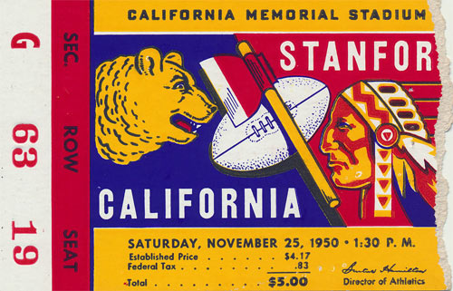 1950 Stanford vs Cal Big Game Football Ticket
