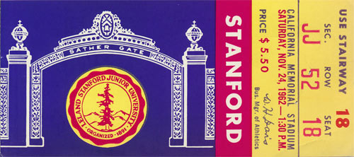 1962 Stanford vs Cal Big Game Football Ticket