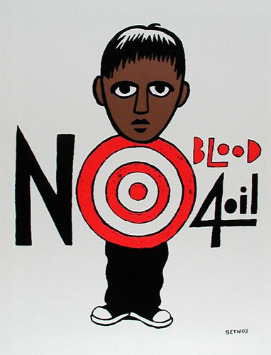 Seth (Printed at Firehouse) No Blood 4 Oil Peace Signs Poster