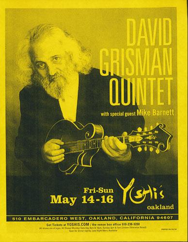 David Grisman Quintet Flyer