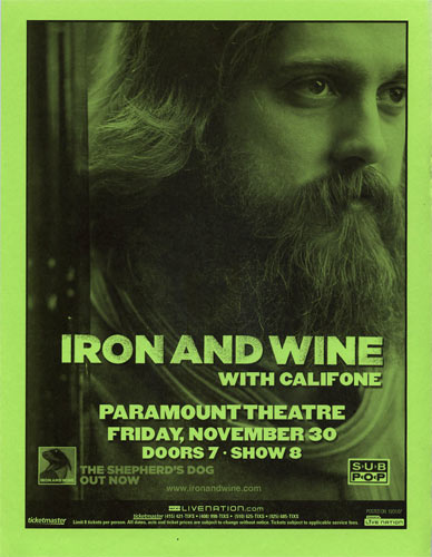 Iron and Wine Flyer
