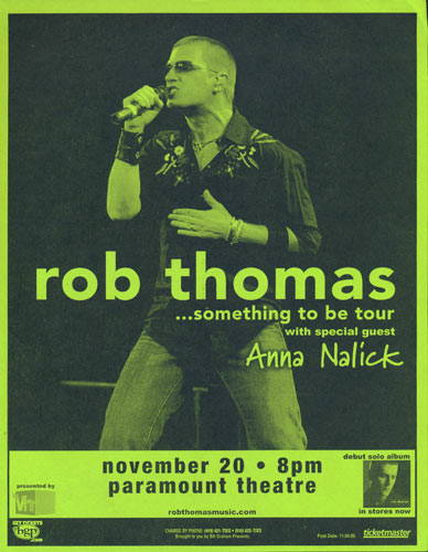 Rob Thomas - Something To Be Tour Flyer