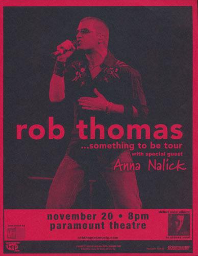 Rob Thomas - Something To Be Tour Flyer
