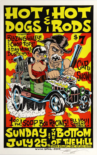 Alan Forbes Hot Dogs & Hot Rods Poster