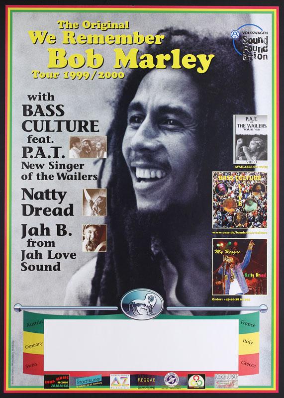 German Bob Marley 1999-2000 European Memorial Tour Poster