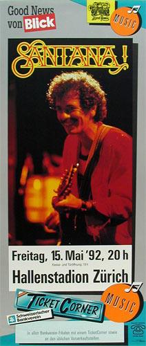 1992 Santana Swiss Concert Poster