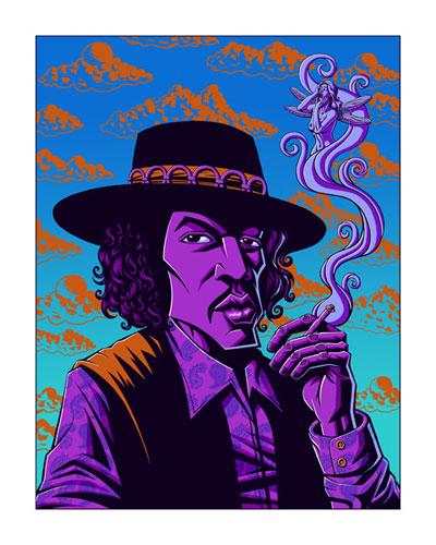 Justin Hampton 'Dragonfly' Jimi Hendrix Art Print