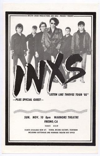 INXS Listen Like Thieves Tour Handbill