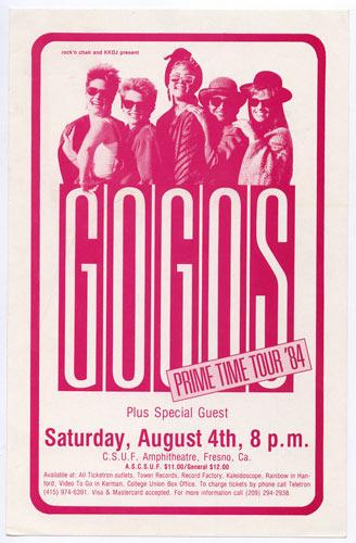 Go-Go's Prime Time Tour Handbill