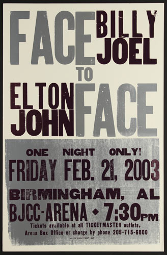Hatch Show Print Billy Joel and Elton John Face To Face Poster