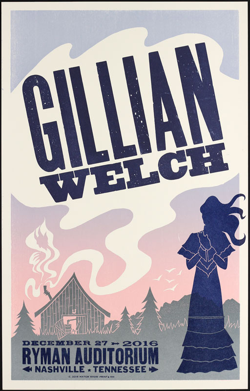 Hatch Show Print Gillian Welch at Ryman Auditorium Poster