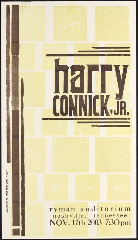 Hatch Show Print Harry Connick Jr. at Ryman Auditorium Poster