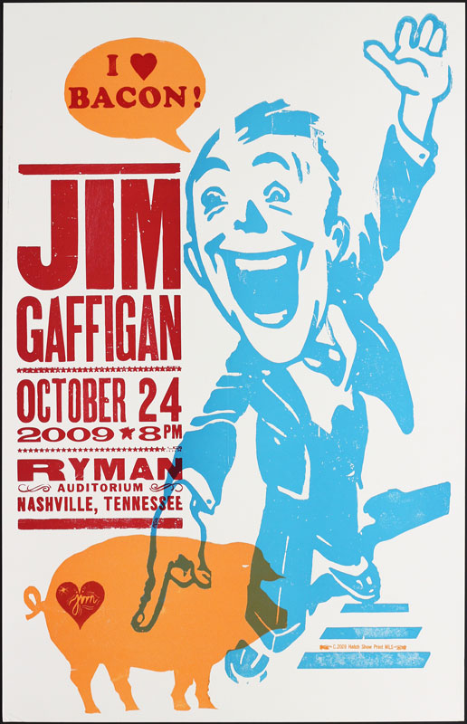Hatch Show Print Jim Gaffigan at Ryman Auditorium Poster